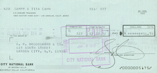 SAMMY CAHN - AUTOGRAPHED SIGNED CHECK 12/22/1972