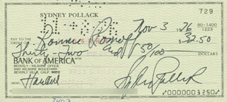 SYDNEY POLLACK - AUTOGRAPHED SIGNED CHECK 11/03/1976