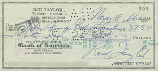 ROD TAYLOR - AUTOGRAPHED SIGNED CHECK 05/18/1966