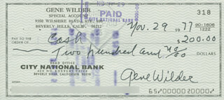 GENE WILDER - AUTOGRAPHED SIGNED CHECK 11/29/1977