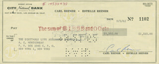 CARL REINER - AUTOGRAPHED SIGNED CHECK 09/05/1962