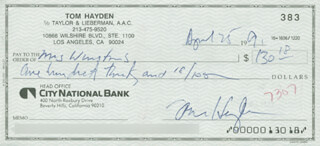 Autographs: THOMAS E. HAYDEN - CHECK SIGNED 04/25/1991