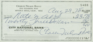 CHARLES NELSON REILLY - AUTOGRAPHED SIGNED CHECK 08/29/1978