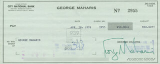 GEORGE MAHARIS - AUTOGRAPHED SIGNED CHECK 04/28/1978