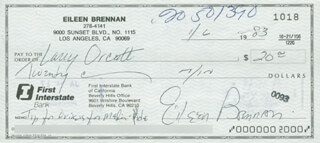 EILEEN BRENNAN - AUTOGRAPHED SIGNED CHECK 01/06/1983
