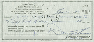 Autographs: DANNY THOMAS - CHECK SIGNED 04/14/1975