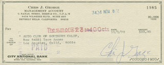 CHRISTOPHER GEORGE - AUTOGRAPHED SIGNED CHECK 11/01/1972
