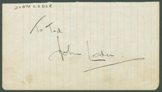 JOHN LODER - INSCRIBED SIGNATURE