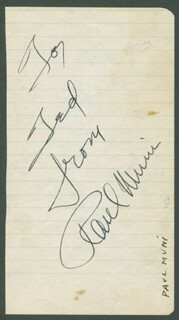 PAUL MUNI - AUTOGRAPH NOTE SIGNED