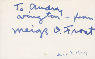 Autographs: MEIGS O. FROST - INSCRIBED CARD SIGNED CIRCA 1929