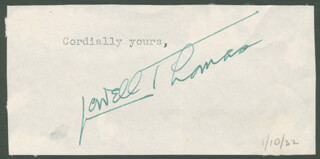 LOWELL THOMAS - TYPED SENTIMENT SIGNED