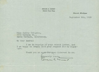 EDGAR A. GUEST - TYPED LETTER SIGNED