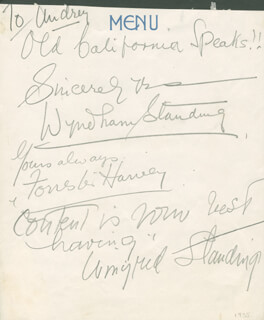 WYNDHAM STANDING - INSCRIBED SIGNATURE CO-SIGNED BY: FORRESTER HARVEY, WINIFRED STANDING