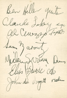 HARRY JAMES ORCHESTRA - AUTOGRAPH CO-SIGNED BY: BEN HELLER, CLAUDE LAKEY, AL CUOZZO, SAM MAROWITZ, MICKEY SCRIMA, ELIAS FRIEDE, JOHN DE VOOGDT