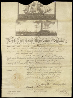PRESIDENT ANDREW JACKSON - SHIPS PAPERS 11/13/1834 CO-SIGNED BY: JOHN FORSYTH