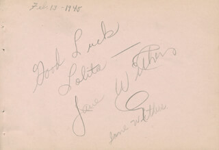 JANE WITHERS - INSCRIBED SIGNATURE CO-SIGNED BY: GIL LAMB