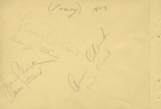 LENNY ATKINS - AUTOGRAPH CIRCA 1944 CO-SIGNED BY: BETTY BREWER, SENTIMENALISTS (ANN CLARK), SENTIMENALISTS (JEAN CLARK)
