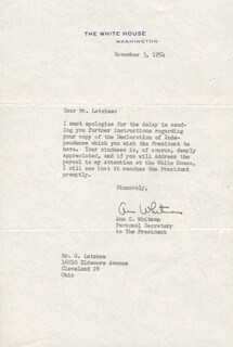 ANN C. WHITMAN - TYPED LETTER SIGNED 11/03/1954