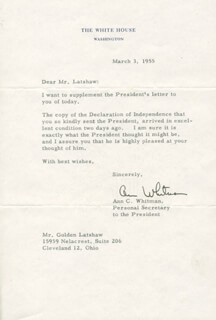 ANN C. WHITMAN - TYPED LETTER SIGNED 03/03/1955
