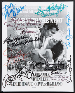 GONE WITH THE WIND MOVIE CAST - AUTOGRAPHED SIGNED PHOTOGRAPH CO-SIGNED BY: WILLIAM BAKEWELL, BEBE (MARY ANDERSON) ANDERSON, CAMMIE KING, OLIVIA DE HAVILLAND, RAND BROOKS, ANN RUTHERFORD, ERIC LINDEN, EVELYN KEYES, BUTTERFLY McQUEEN, FRANK COGHLAN JR.