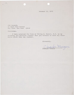 CHARLIE MINGUS - TYPED LETTER SIGNED 10/12/1973