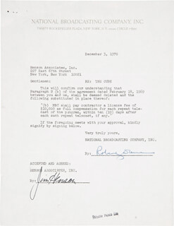 JIM HENSON - CONTRACT SIGNED 12/03/1970