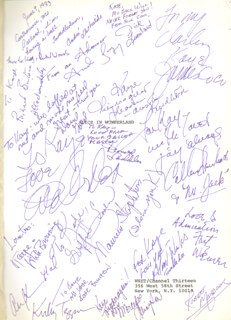 Autographs: ALICE IN WONDERLAND TV CAST - INSCRIBED SCRIPT SIGNED CO-SIGNED BY: KAYE BALLARD, ANDRE DE SHIELDS, EVE ARDEN, COLLEEN DEWHURST, JAMES JIMMY COCO, RICHARD BURTON, FRITZ WEAVER, MAUREEN STAPLETON, DONALD SADDLER, DIRK LUMBARD, RICHARD WOODS, ANDRE GREGORY, DAVID GOLD, AUSTIN PENDLETON, SWEN SWENSON, KATE BURTON, ALAN WEEKS, MERCEDES ELLINGTON, KIRBY TEPPER, ROBERT MEADOWS, KIRK BROWNING