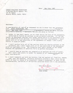 JOAN RIVERS - DOCUMENT SIGNED 05/14/1987
