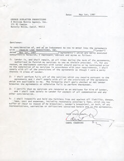 CAROL CHANNING - CONTRACT SIGNED 05/01/1987
