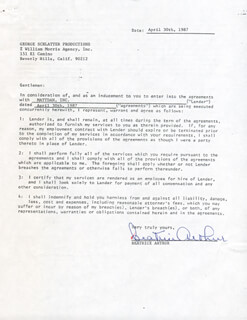 Autographs: BEATRICE ARTHUR - CONTRACT DOUBLE SIGNED 04/30/1987