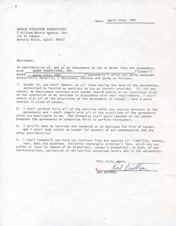 Autographs: RED BUTTONS - CONTRACT DOUBLE SIGNED 04/23/1987