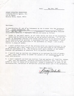 BETTY WHITE - CONTRACT DOUBLE SIGNED 05/08/1987