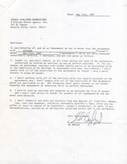 ED BEGLEY JR. - CONTRACT DOUBLE SIGNED 05/21/1987