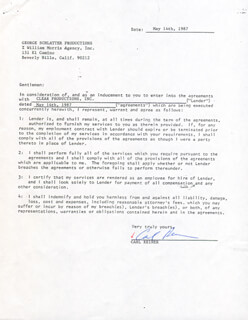 CARL REINER - CONTRACT DOUBLE SIGNED 05/14/1987