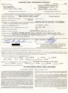 ED McMAHON - CONTRACT SIGNED 05/04/1987
