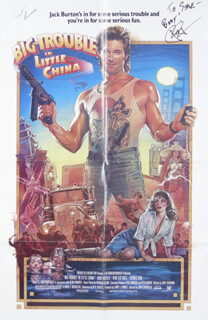 BIG TROUBLE IN LITTLE CHINA - AUTOGRAPHED SIGNED POSTER CO-SIGNED BY: KURT RUSSELL