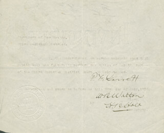 PATRICK F. BIG CASINO GARRETT - DOCUMENT SIGNED 07/20/1896 CO-SIGNED BY: W. B. WALTON, H. B. HOLT