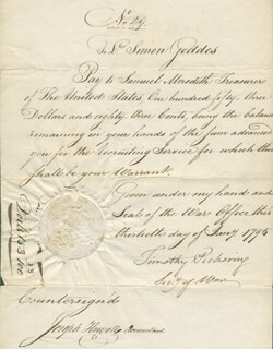 Autographs: GENERAL TIMOTHY PICKERING - DOCUMENT SIGNED 01/13/1795