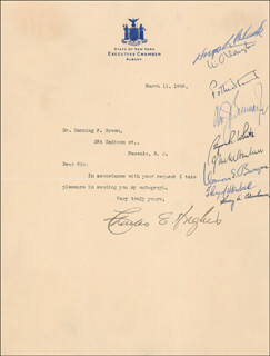 Autographs: THE WARREN E. BURGER COURT - TYPED LETTER SIGNED 03/11/1908 CO-SIGNED BY: ASSOCIATE JUSTICE BYRON R. WHITE, ASSOCIATE JUSTICE JOHN M. HARLAN JR., CHIEF JUSTICE WARREN E. BURGER, CHIEF JUSTICE CHARLES E HUGHES, ASSOCIATE JUSTICE HUGO L. BLACK, ASSOCIATE JUSTICE WILLIAM O. DOUGLAS, ASSOCIATE JUSTICE POTTER STEWART, ASSOCIATE JUSTICE WILLIAM J. BRENNAN JR., ASSOCIATE JUSTICE THURGOOD MARSHALL, ASSOCIATE JUSTICE HARRY A. BLACKMUN