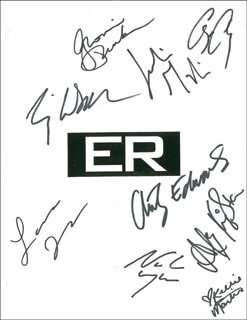 ER TV CAST - SCRIPT SIGNED CO-SIGNED BY: GEORGE CLOONEY, ANTHONY EDWARDS, KELLIE MARTIN, NOAH WYLE, ERIQ LA SALLE, JULIANNA MARGULIES, GLORIA REUBEN, LAURA INNES, ALEX KINGSTON