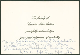 HELEN HAYES - AUTOGRAPH NOTE SIGNED