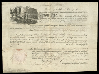 PRESIDENT JAMES MONROE - LAND GRANT SIGNED 03/21/1821 CO-SIGNED BY: JOSIAH MEIGS