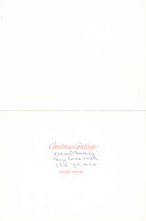 HELEN HAYES - ANNOTATED CHRISTMAS / HOLIDAY CARD UNSIGNED