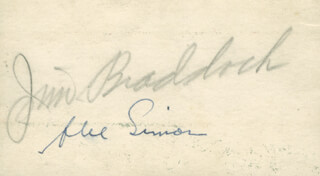JAMES J. CINDERELLA MAN BRADDOCK - ADVERTISEMENT SIGNED CO-SIGNED BY: ABE SIMON