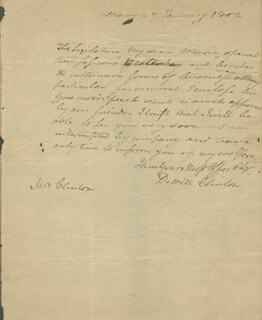 GOVERNOR DEWITT CLINTON - AUTOGRAPH LETTER SIGNED 01/27/1802