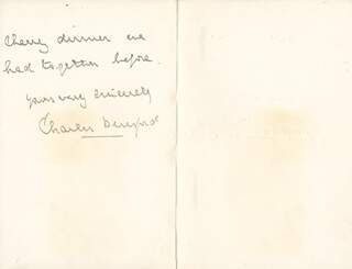 Autographs: ADMIRAL CHARLES W. BERESFORD - AUTOGRAPH LETTER SIGNED 09/20/1902