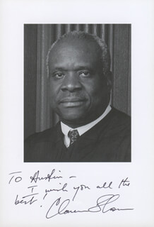 ASSOCIATE JUSTICE CLARENCE THOMAS - AUTOGRAPHED INSCRIBED PHOTOGRAPH