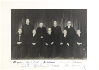 Autographs: THE EARL WARREN COURT - PHOTOGRAPH SIGNED CO-SIGNED BY: ASSOCIATE JUSTICE BYRON R. WHITE, ASSOCIATE JUSTICE JOHN M. HARLAN JR., CHIEF JUSTICE EARL WARREN, ASSOCIATE JUSTICE HUGO L. BLACK, ASSOCIATE JUSTICE TOM C. CLARK, ASSOCIATE JUSTICE WILLIAM O. DOUGLAS, ASSOCIATE JUSTICE POTTER STEWART, ASSOCIATE JUSTICE WILLIAM J. BRENNAN JR., ASSOCIATE JUSTICE ARTHUR J. GOLDBERG