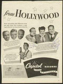 JO STAFFORD - INSCRIBED MAGAZINE ADVERTISEMENT SIGNED CO-SIGNED BY: PAUL WESTON