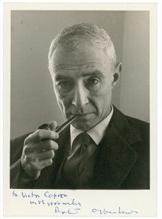 J. ROBERT OPPENHEIMER - AUTOGRAPHED INSCRIBED PHOTOGRAPH